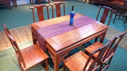 高山巴花花梨全实木餐桌七件套-南洋企业(家具)有限